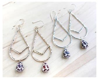 READY TO SHIP - Hebrew Cone Shell Chevron Earrings - Chevron Earrings - Shell Earrings - Good Shell Earrings - Silver Shell Earrings