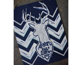 Navy & grey chevron hunting or deer themed nursery or kids decor - multi-layer wall hanging painting