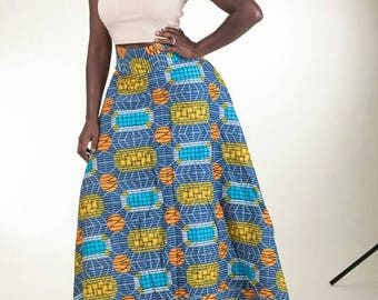 Authentic handmade African Print Flare Maxi skirt