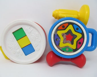 Fisher Price Vintage Musical Toys - Drum, Horn, Xylophone
