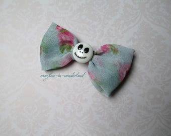 Turquoise Green bow Barrette and liberty skull