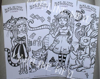 "brand ""alice in Wonderland of"" coloring page set of 4"