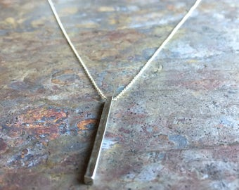 Sterling silver or gold filled bar pendant necklace