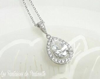 Collier de mariage, pendentif mariage, collier mariage transparent, pendentif en cristal zircon, collier mariée goutte, pendentif goutte