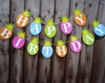 Tropical happy birthday bunting, Pineapple bunting banner garland