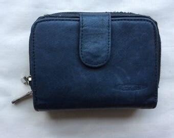 Vintage soft leather ladies wallet, elephant grey wallet purse, Fabretti ladies wallet.