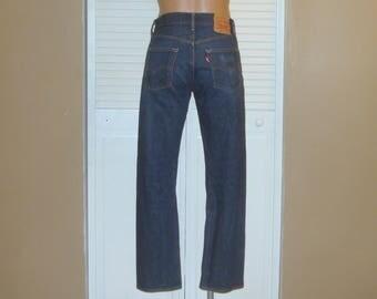Levis 501 Dark Denim Buttonfly Blue Jeans~29X29~