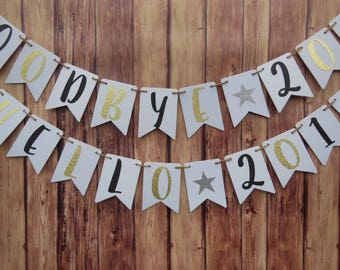 New Years Eve, New Year Party Decorations, Happy New Year Banner, 2018 banner, New Years Decor, Gold Glitter Garland, New Years Party Banner