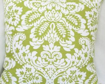 Green & white damask decorative pillow cover 18x18 20x20 22x22 24x24 26x26 Euro sham Apple green Lime green Kiwi green white pillow cover