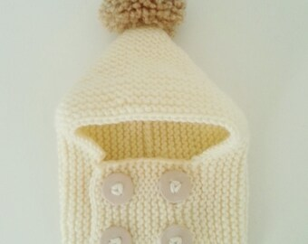 Hat cowl baby birth in 24 months hand-knitted woolen ecru with pompom and buttonhole