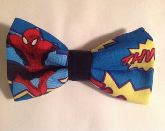 bow tie made from spiderman fabric mens superhero bow tie pretied clip on tie cotton novelty prom wedding  party neckwear tie