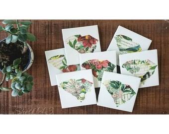 Custom Floral Decoupage State Ceramic Coasters set