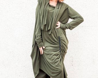 SUN SALE 25% OFF Oversize Maxi Tunic/ Asymmetrical Extravagant Dress/ Asymmetric Long Dress / Military Green Tunic Tdk16