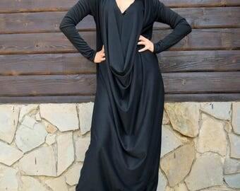 SALE 15% OFF Black Jersey Jumpsuit, Black Plus Size Jumpsuit, Plus Size Jumpsuit, Loose Jumpsuit TJ10 by Teyxo