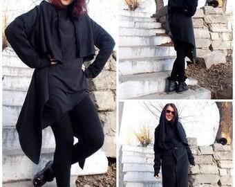 SALE 25% OFF Black Asymmetric Coat / Quilted Cotton Coat / Black Tunic / Women Black Top TC10