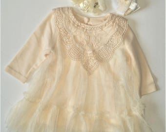 3 Pcs Set, Baby Dress, Baptism Dress,Ivory Lace Dress,Easter, Newborn Girl Dress,Christmas Dress,Girl Dress,Christening Dress,Wedding Dress