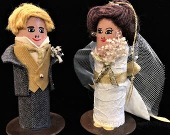Bride & Groom 1st Christmas Together Ornament and Wedding Cake Toppers