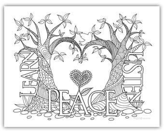"2018 Mutual Theme Coloring Page 8.5""x11"" - Trees w/heart learn of me listen to my words have peace in me"