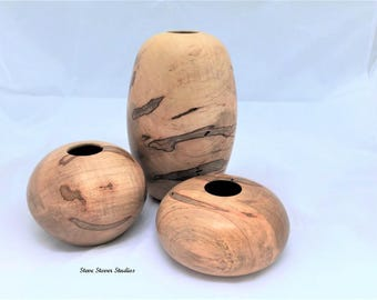 Woodturned Hollow Form - Hollow Form Grouping - Set of Hollow Forms - Ambrosia Maple Hollow Forms