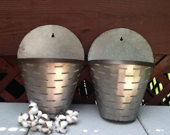 Large Olive Bucket Wall Sconce Wall Pockets  / Set of 2 Galvanized Metal Wall Sconces /  Farmhouse Home Wall Decor