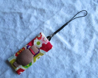 8cm Silk Kimono Kitty Strap Charm - made with vintage silk Japanese kimono fabric