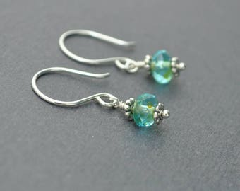 Silver Dangle Earrings, Handmade Earrings, Glass Earrings, Sea Earrings, Czech Glass Earrings