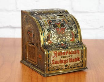 SHONK WORKS American Penny Savings Bank by American Can Co. | Antique Early 1900s Tin Mechanical Bank