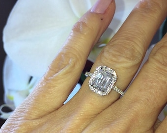 Diamond Halo Wedding Ring Platinum Setting 40ct Natural Diamonds Center 8x6mm Emerald Cut Simulate