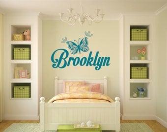 Girl Personalized Custom Monogram Name Butterfly Wall Decal Vinyl Decor Baby Kids Nursery Family