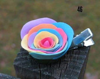Rainbow rose hair clip.