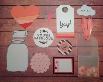 paper craft kit, embellishment kit, handmade embellishments, scrapbooking embellishments, scrapbooking kit,