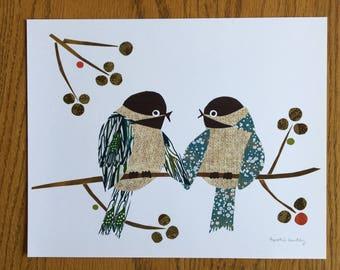 Chickadees Art Print, Lovebirds, Bird Art, Bird Print, cut paper art, whimsical, anniversary gift