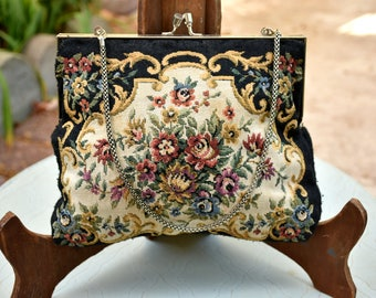 Victorian - 1920s Style Black w/ Floral Tapestry Bag Vintage Floral Purse Needle Point Art / 1960s Floral Purse