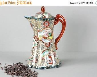 SUMMER SALE Antique Chocolate Pot, Japanese Teapot, Hand Painted Chocolaté Pot