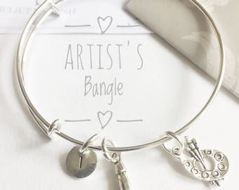 Artists Charm Bangle, Gift for Painter, Art Bracelet, Artist, Artist gift, Painters Gift, Special Gift, Artist Charms, Boxed, Gift Tag