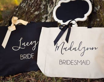 Bridesmaid Tote Bag Bridal Party Tote Maid of Honor Tote Monogrammed Tote Bag (BR048)