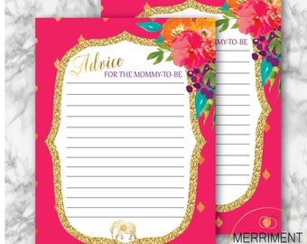 Indian Themed Baby Shower Advice Card / Mommy to Be / Elephant / Gold / Fuschia / Paisley / Bollywood / Instant Download / JAIPUR COLLECTION