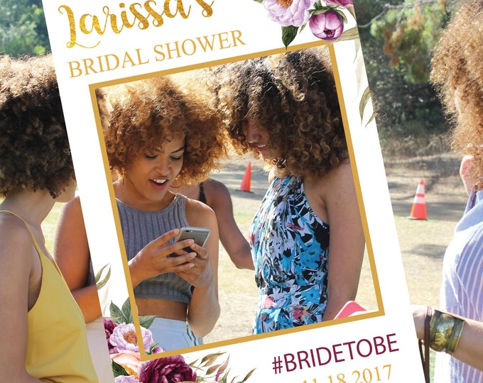 Wedding Photo Booth Frame // Wedding Selfie Frame / Photo Prop Frame / Burgundy / Baby Shower / Bridal Shower /Peonies / FLORENCE COLLECTION