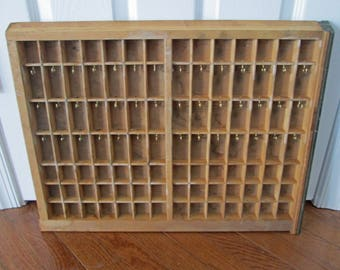 Vintage Letterpress Drawer Tray Converted to Earring Holder Display