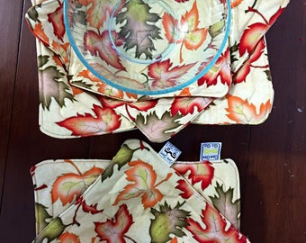 Leaves / fall /Microwave bowl cozies SET OF Two or three / sizes and prices vary