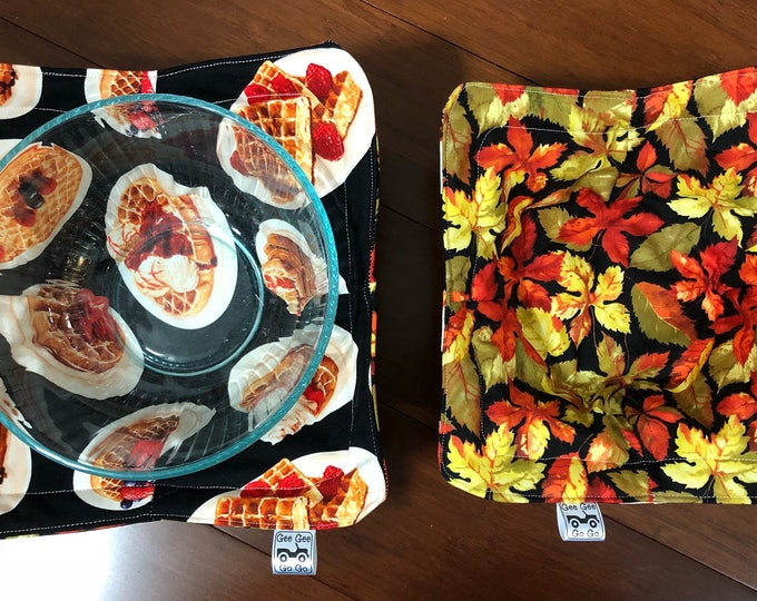 Pancakes and leaves / Microwave bowl cozies SET OF TWO