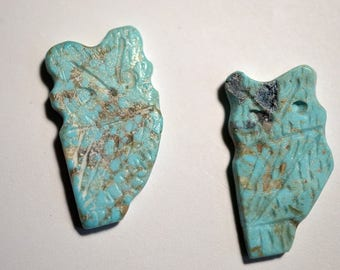 Vintage Genuine Turquoise Hand Carved Owl Fetish Beads. Native American. LIMITED QUANTITY (2040125)