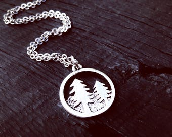 Pine Tree Pendant Necklace | Mountain Nature Outdoors Jewelry | The Mountains Are Calling | Forest Lover | Evergreen | Silver Fur | Redwood