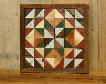 wooden barn quilt,  rustic quilt decor, wood wall art