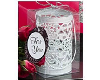 White Metal Filigree Design Luminary Lantern - Wedding Bridal Shower Party Favor 20-100 Qty  FC4151