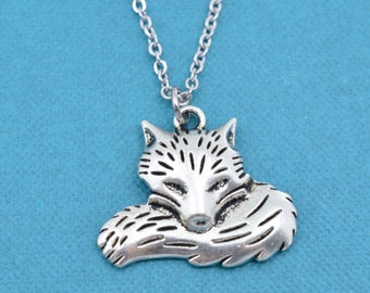 """Fox Necklace. Fox Jewelry. Fox Charm.  Silver necklace.  Fox.  Gift for Her.  Gift for Teen.  Teen girl.  16"""" +2"""" extender."""