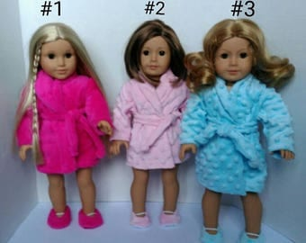 Doll robe and slippers made to fit American Girl like dolls.