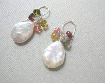 Feminine Earrings, Freshwater Pearl, Watermelon Tourmaline Earrings, Pearl Earrings, Sterling Silver