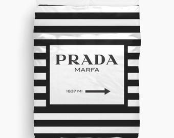 Prada Marfa Duvet Cover, Black and White Striped Bedding, Twin, Queen, King Duvet Cover, Fashion Decor, Dorm Bedding, Girls Bedroom Decor
