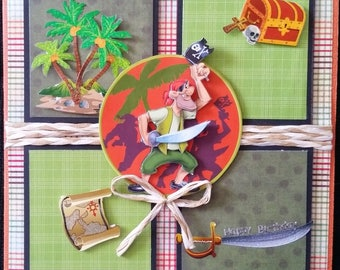 scrap card, 3d pirate happy birthday